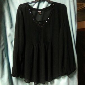 Torrid sheer long sleeve blouse